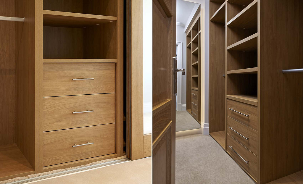 Wardrobe interior solution with drawers and shelves