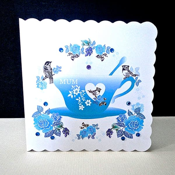 Teacup and Birds with Roses Card - Blue