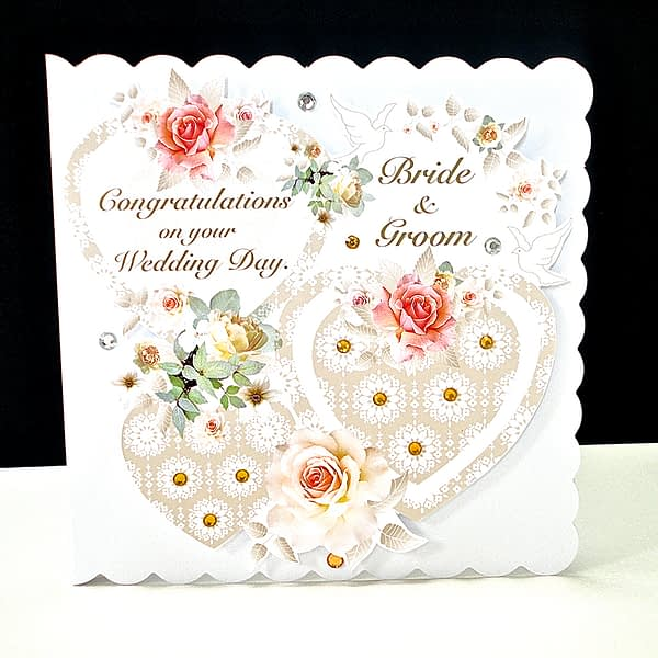 Coral Rose Three Heart Wedding Day Card