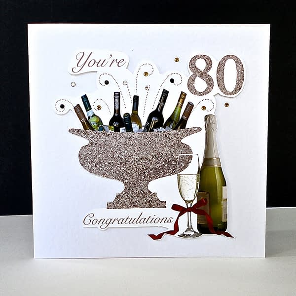 Celebration Bottles 80th Handmade Birthday Card