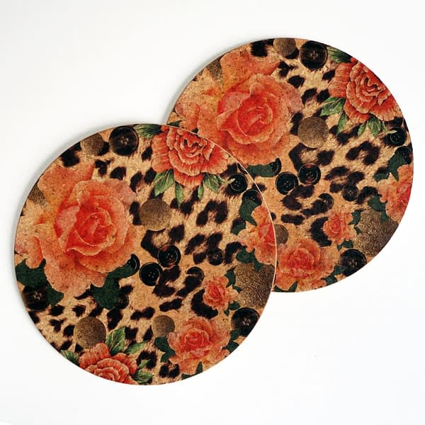Two Orange Rose & Skin Print Round Cork Placemats