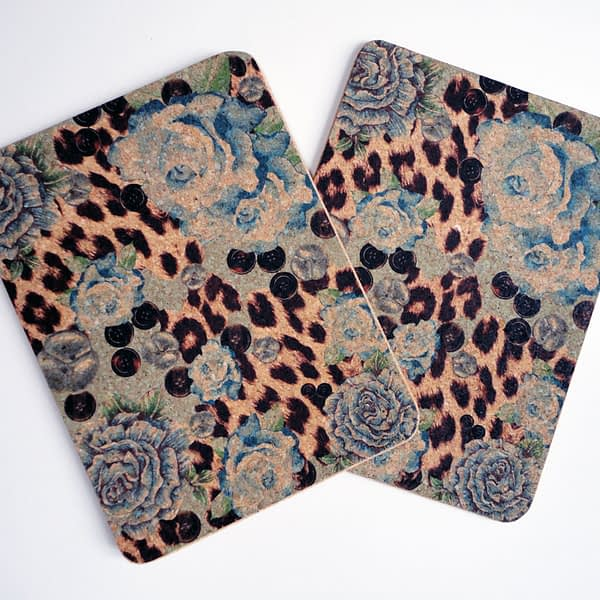 Two Blue Rose & Skin Print Cork Placemats