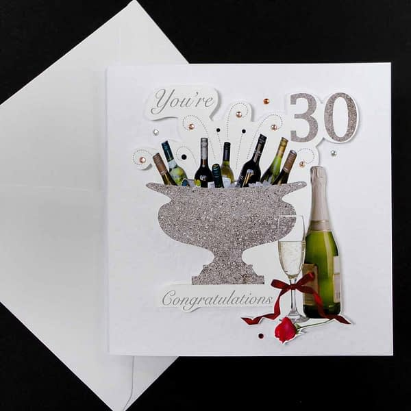 Celebration Bottles & Red Rose 30th Birthday Card.