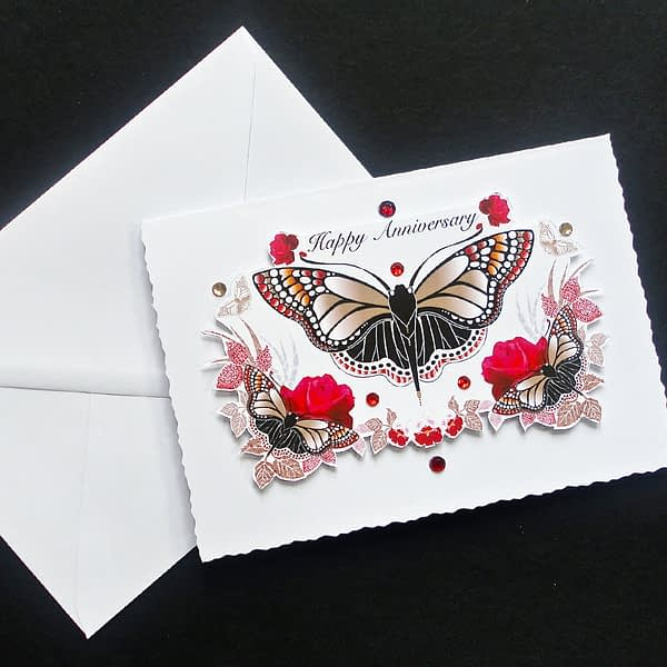Red and Black Butterfly Handmade Anniversary Card
