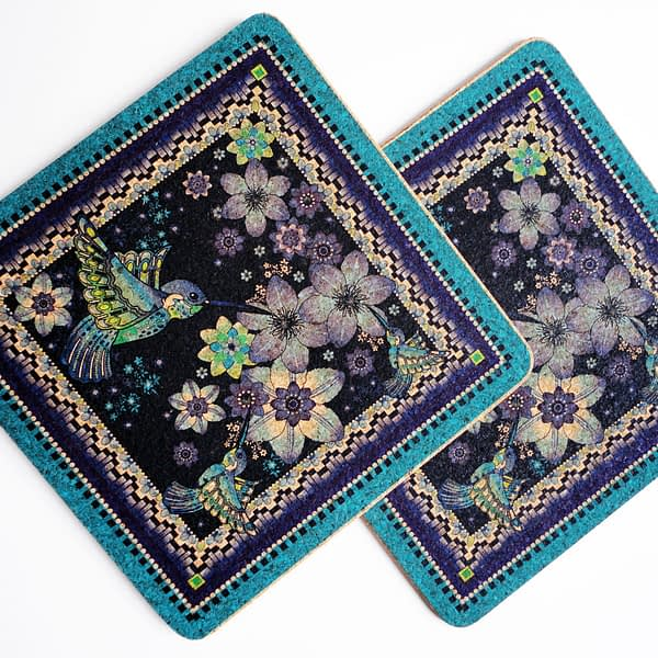 Two Charm Of Hummingbirds Square Cork Placemats