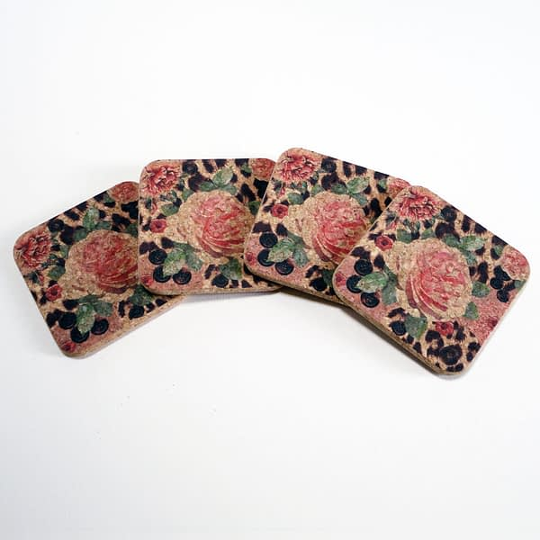 Four Pink Rose and Skin Square Cork Coasters