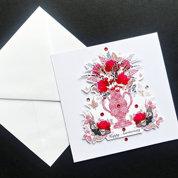 Red Vase-Roses and Butterflies Handmade Anniversary Card