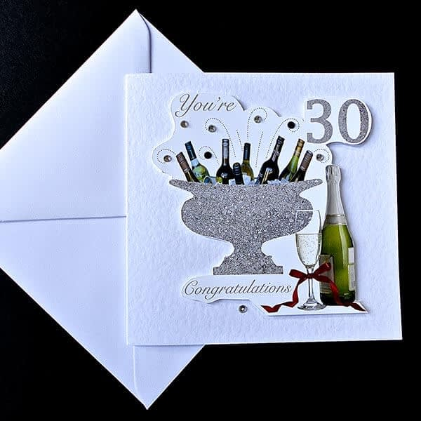 Celebration Bottles 30th Handmade Birthday Card.