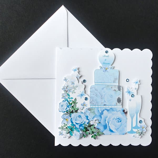 Blue Rose Wedding Day card
