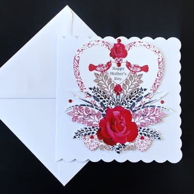 Red Heart Display Mother's Day Card