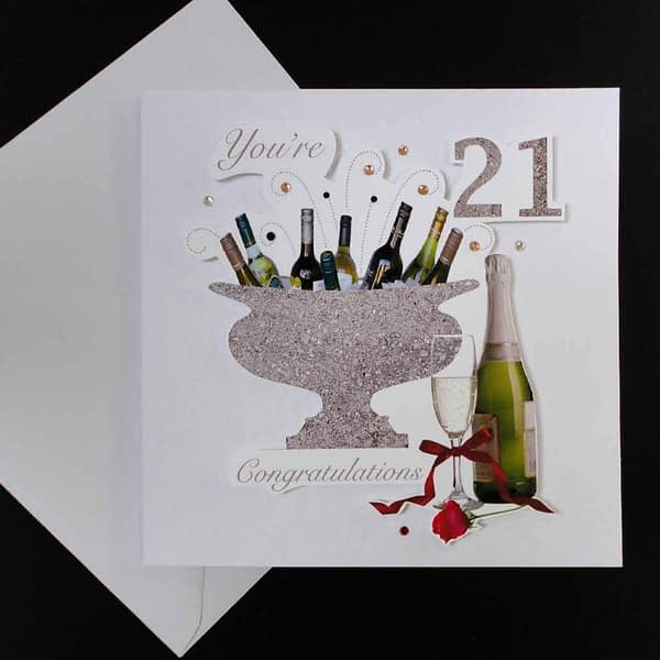 Celebration Bottles & Red Rose 21st Birthday Card.