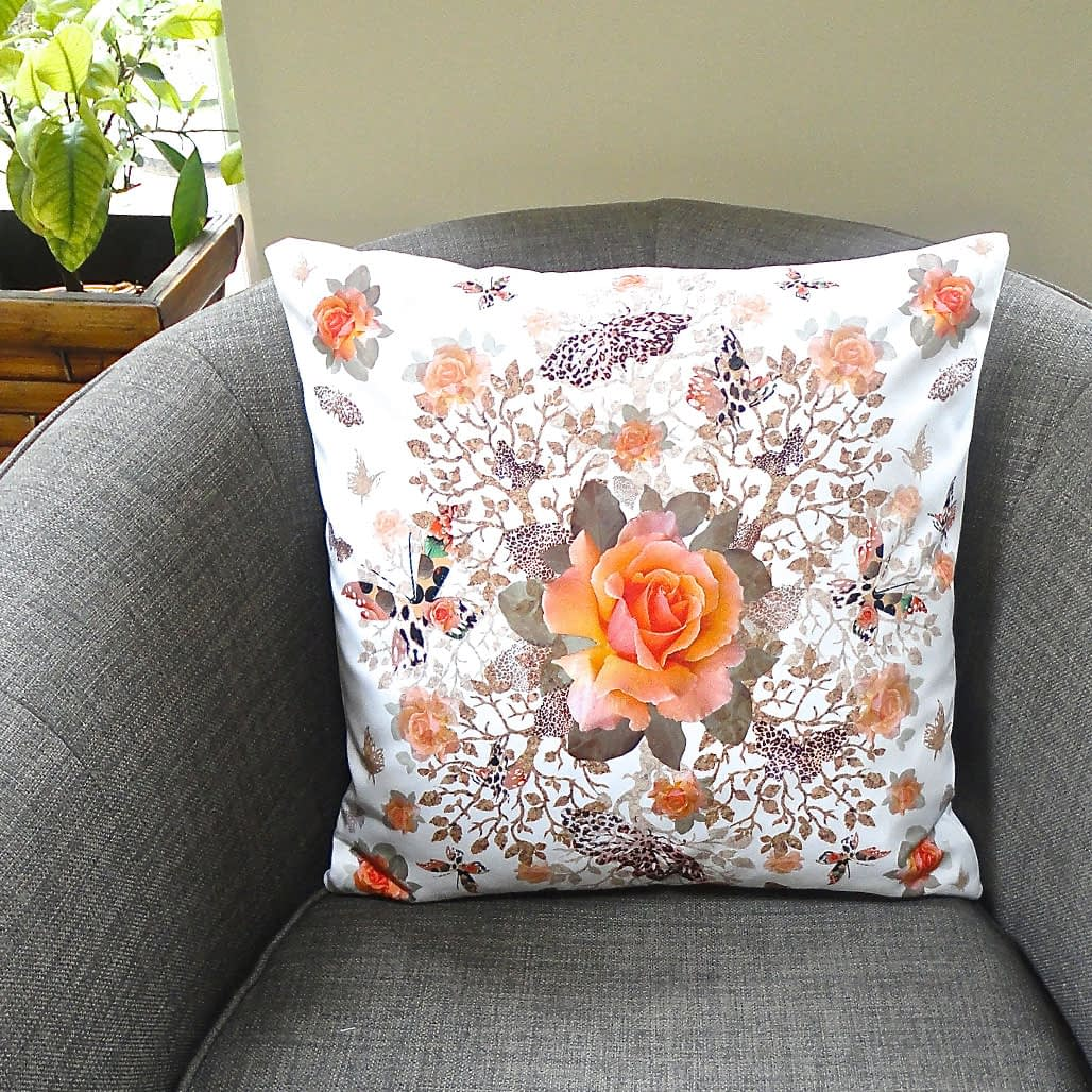 Cork Butterfly Bush Duo Patterned Cushion