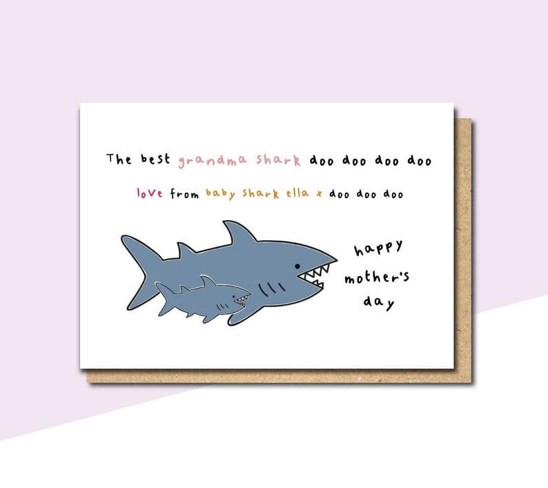 grandma shark card mothers day card for nana mothers day image 0