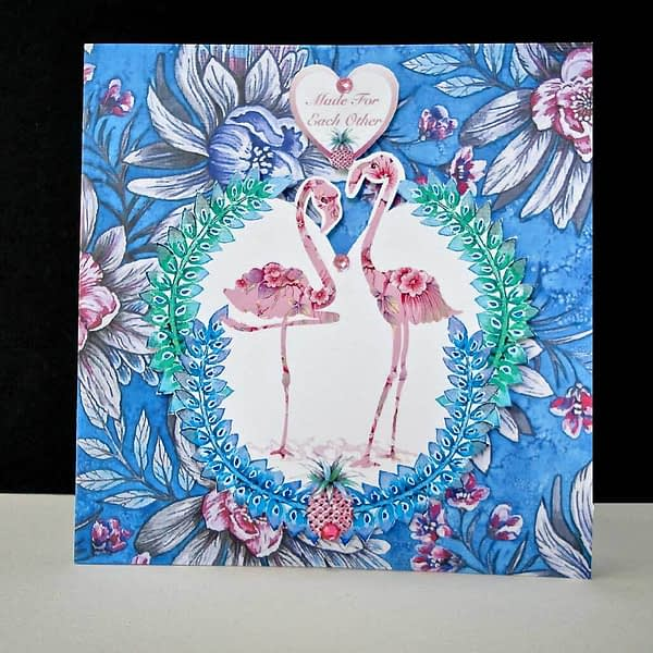 Antique Floral Flamingo - Anniversary Card