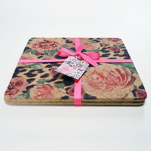 Two Pink Rose & Skin Square Cork Placemats