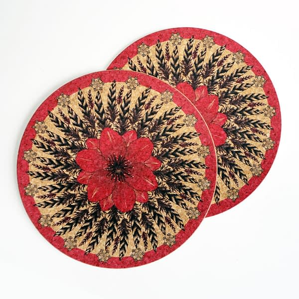 Two Pink Flower & Feather Round Cork Placemats
