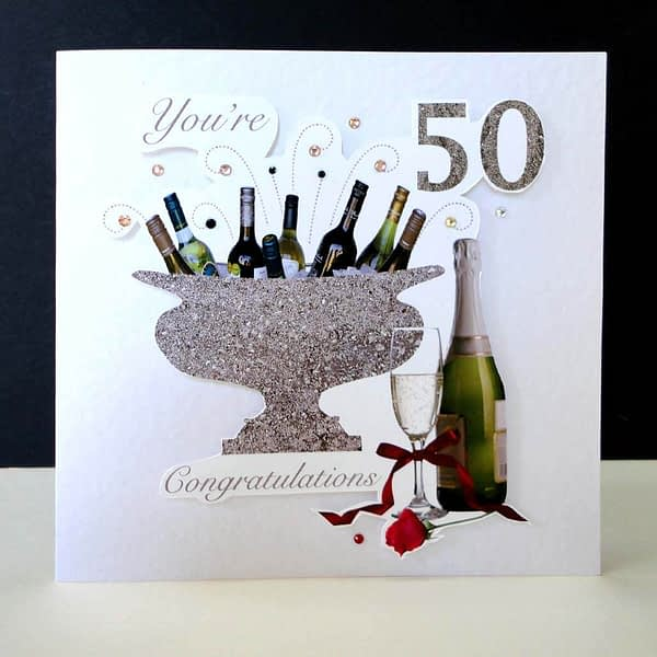 Celebration Bottles & Red Rose 50th Birthday Card