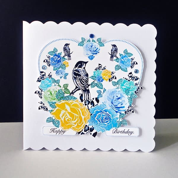 Blue and Yellow Rose Handmade Birthday Card