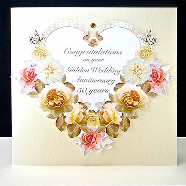 Antique Floral Heart - Handmade Golden Wedding Anniversary Card