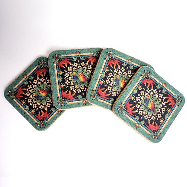Four Festive Turquoise Partridge Square Coasters