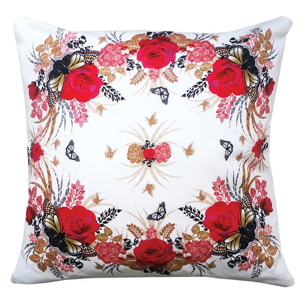 The Red Rose and Butterfly Duo Cushion