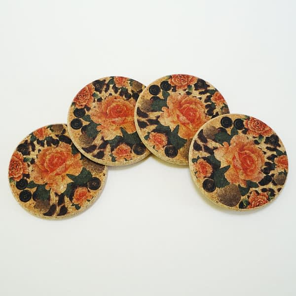 Four Orange Rose and Skin Round Cork Coasters
