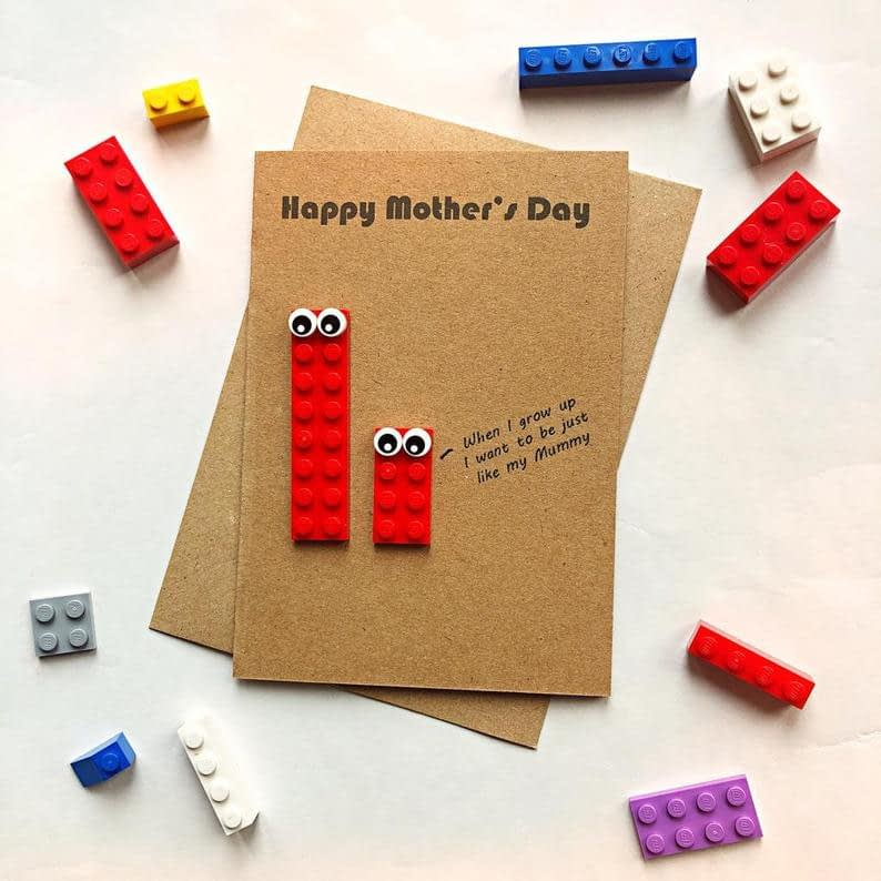 3D LEGO Mothers Day Card Removable Lego When I grow up I image 0