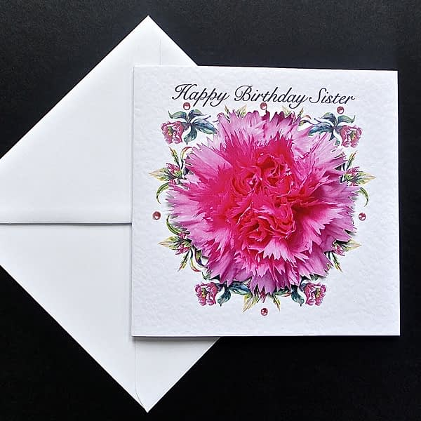 Pink Carnation Happy Birthday Sister Card