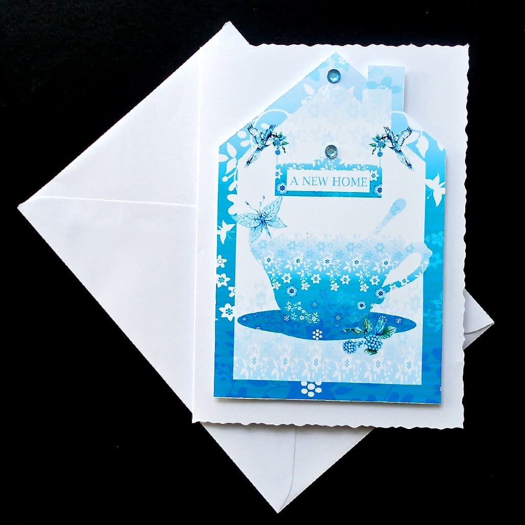 New Home Turquoise Floral Card