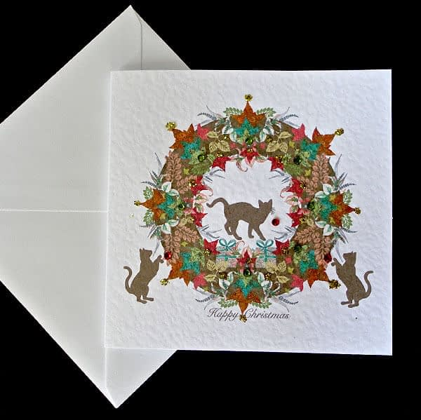 Christmas Cat Toile Card