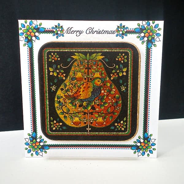 Christmas Partridge in a Pear Tree Coaster Card
