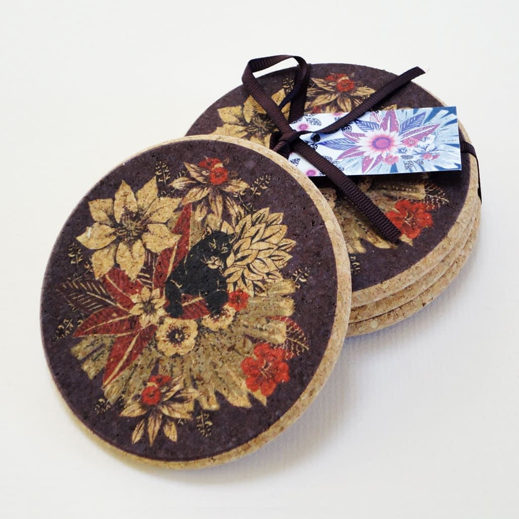 Four Tropical Panther Cork Round Coasters