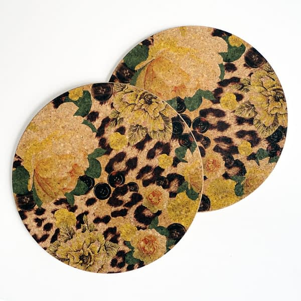 Two Yellow Rose & Skin Print Round Cork Placemats