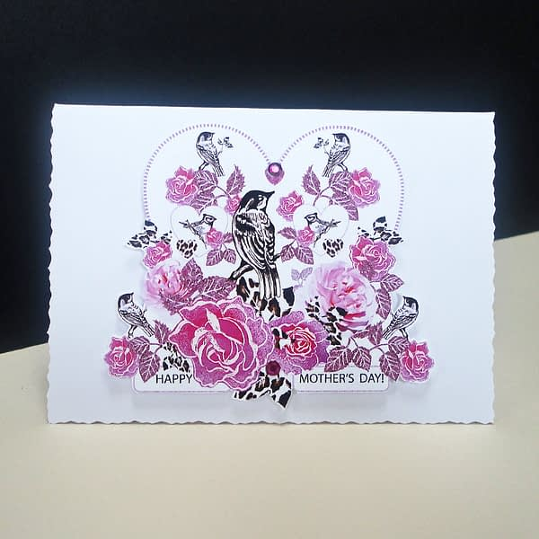 Pink Rose and Bird Mother's Day Card