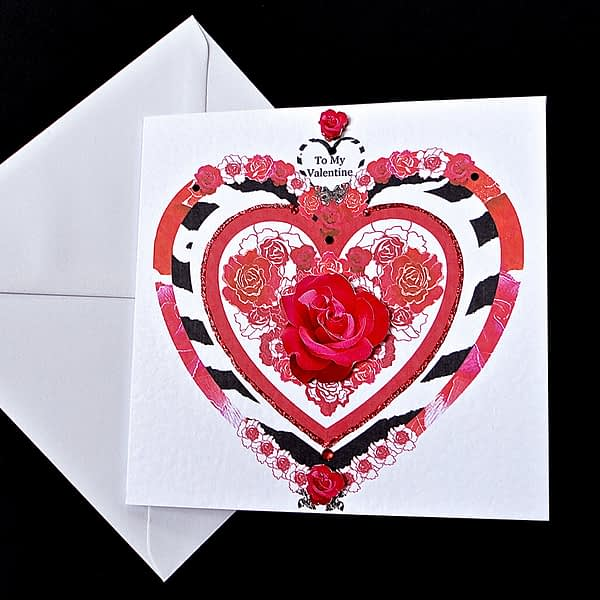 Valentine Decorative Rose Heart Handmade Card
