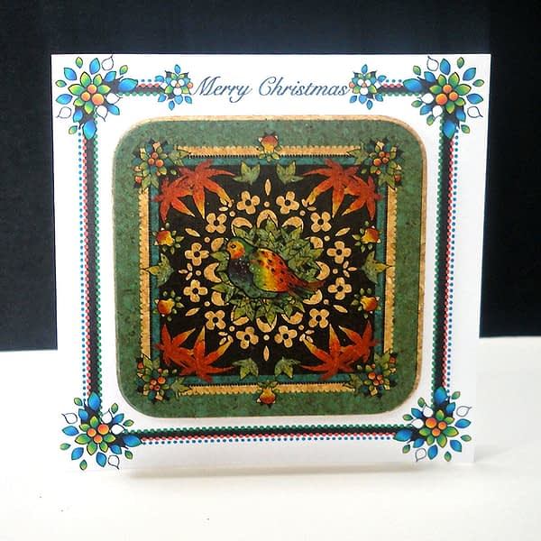 Festive Turquoise Partridge Coaster Card