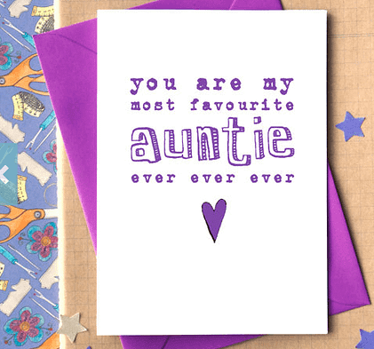 Purple Handmade Aunt Card