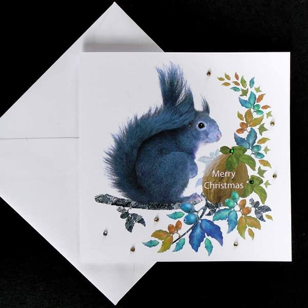 Grey Squirrel at Christmas Card