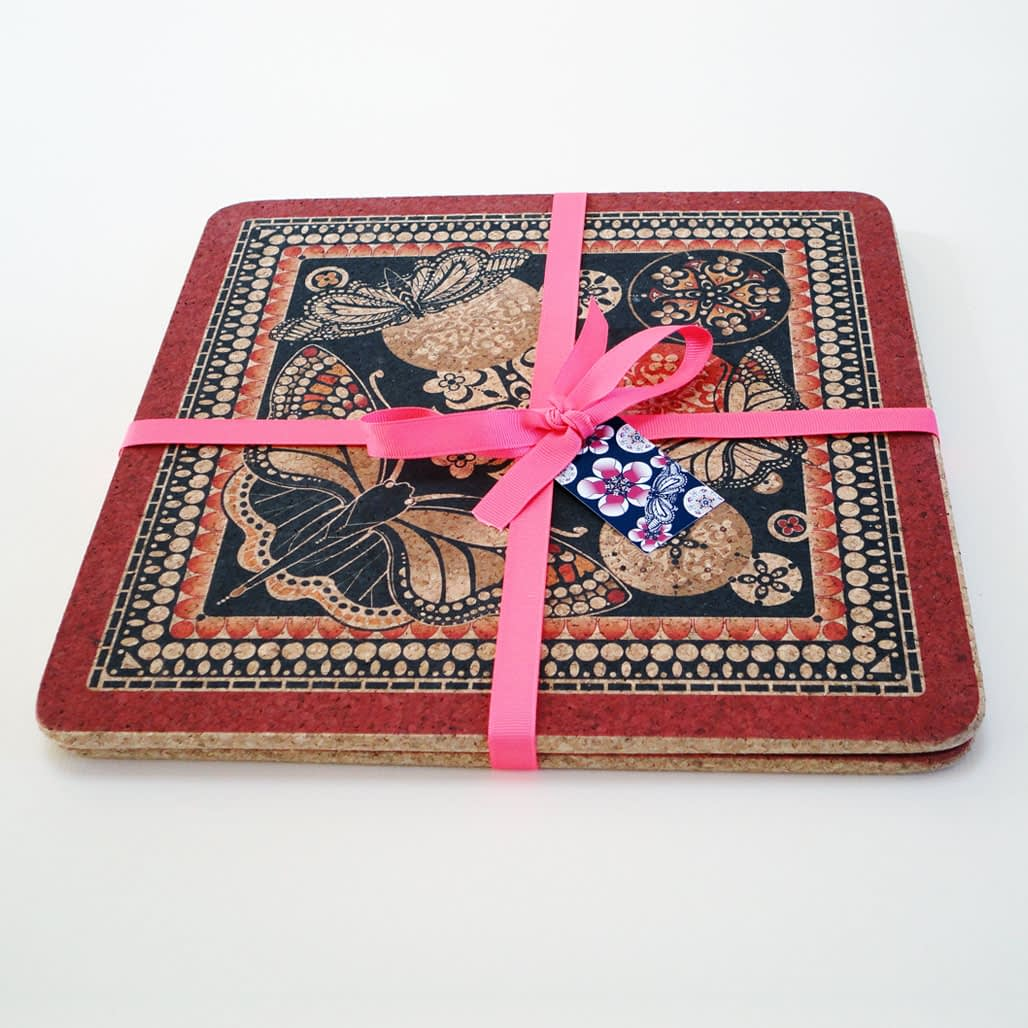 Two Red & Black Butterfly Square Cork Placemats