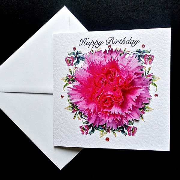 Pink Carnation Happy Birthday Card