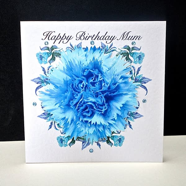 Blue Carnation Happy Birthday Mum Card