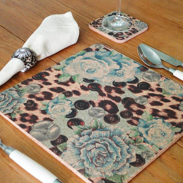 Two Blue Rose & Skin Square Cork Placemats