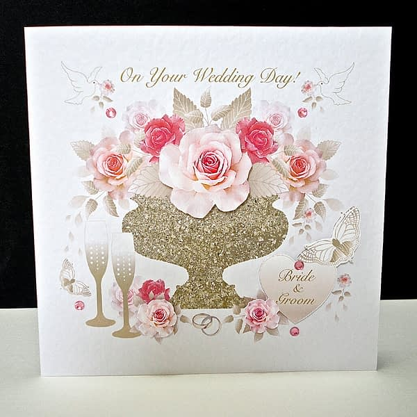 Pink Rose Display Wedding Card