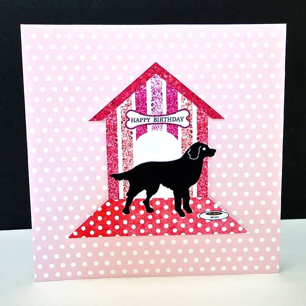 Polka Dot Golden Retriever Happy Birthday Card