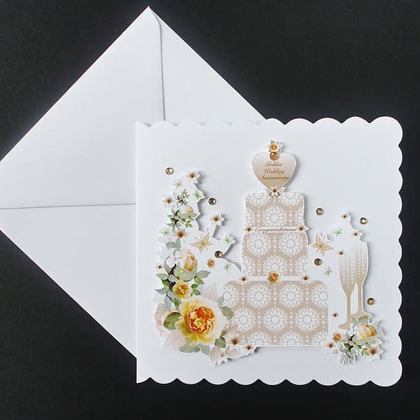 Golden Wedding Anniversary Cake and Champagne Handmade Card