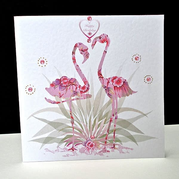 Pink Fantasy Flamingo - Handmade Birthday Card