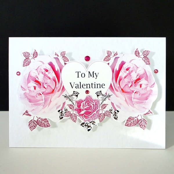 Valentine Two Pink Rose Heart Handmade Card.