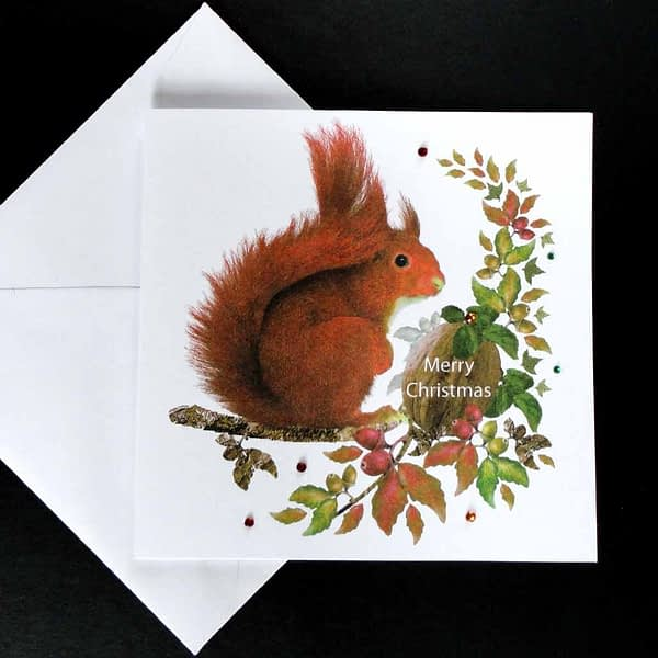 Red Squirrel at Christmas Card