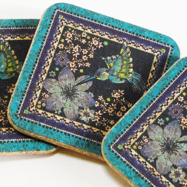 Four Charm Of Hummingbirds Square Cork Coasters