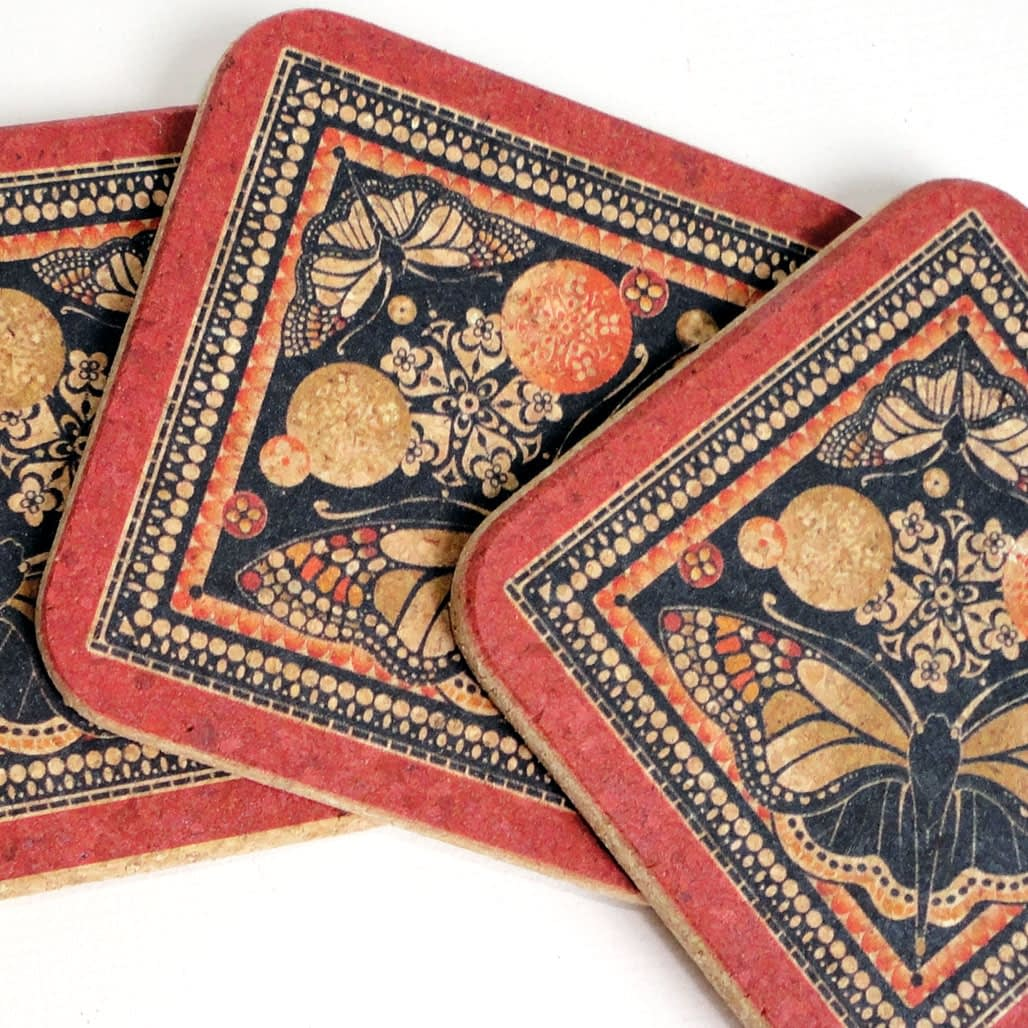 Four Red & Black Patterned Butterfly Cork Coasters